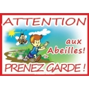 "PANCARTE RECTANGULAIRE PVC ""ATTENTION ABEILLES"" MODELE PETIT GARCON"