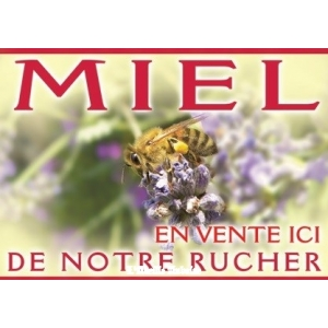"""PANNEAU """"MIEL"""" MODELE ABEILLE/LAVANDE"""