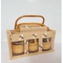 PANIER GOURMAND: assortiment de 3 pots de 250 g de miel dans