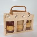 PANIER GOURMAND: assortiment de 3 pots de 500 g de miel dans