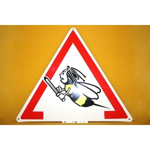 "PANCARTE TRIANGULAIRE PVC ""ATTENTION ABEILLES"""